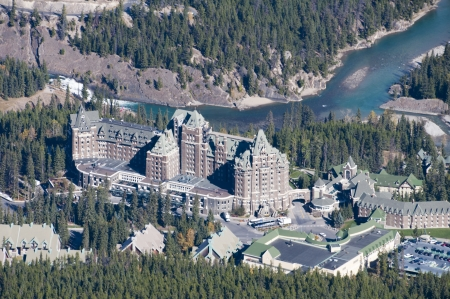 banff: Banff Aerial View, Banff Springs Hotel located beside the river.