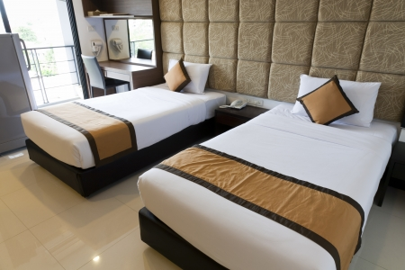 two beds hotel room, Sebersia Hotel, Pattaya, Thailand Stock Photo - 17863889