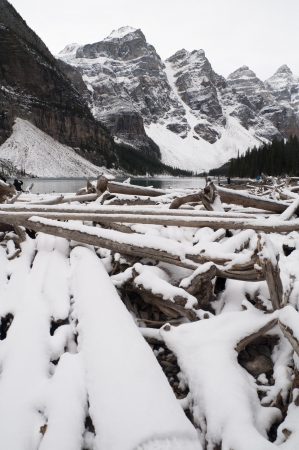 banff: winter Moraine Lake, Banff National Park, Canada.