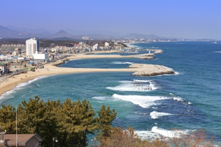 east coast: winter view of Sokcho, a city located at South Korea east coastline  Stock Photo