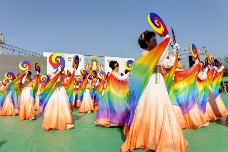 south korea: Seoul, South Korea - May 11, 2013: Actresses are performing at Buddhist Cheer Rally for celebration of Lotus Lantern Festival, Dongguk University Stadium, Seoul, South Korea. Buddha?s birthday is a major event on the Korean calendar and the Lotus Lantern