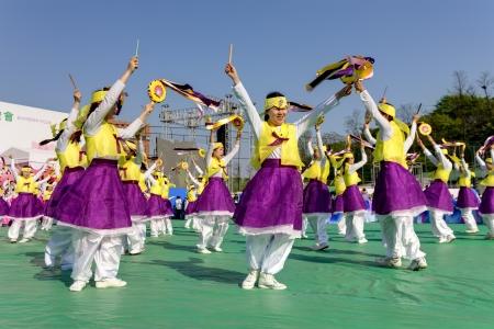 lotus lantern: Seoul, South Korea - May 11, 2013: Actresses are performing at Buddhist Cheer Rally for celebration of Lotus Lantern Festival, Dongguk University Stadium, Seoul, South Korea. Buddha?s birthday is a major event on the Korean calendar and the Lotus Lantern