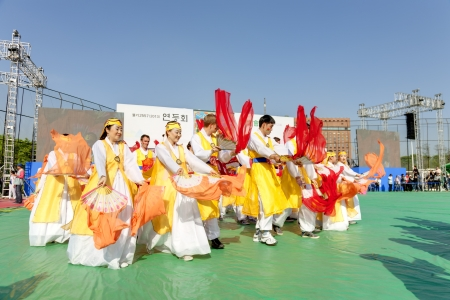 Seoul, South Korea - May 11, 2013: people are performing at Buddhist Cheer Rally for celebration of Lotus Lantern Festival, Dongguk University Stadium, Seoul, South Korea. Buddha?s birthday is a major event on the Korean calendar and the Lotus Lantern