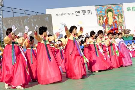 lotus lantern: Seoul, South Korea - May 11, 2013  Actresses are performing at Buddhist Cheer Rally for celebration of Lotus Lantern Festival, Dongguk University Stadium, Seoul, South Korea  Buddha s birthday is a major event on the Korean calendar and the Lotus Lantern