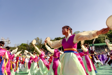 Seoul, South Korea - May 11, 2013  Actresses are performing at Buddhist Cheer Rally for celebration of Lotus Lantern Festival, Dongguk University Stadium, Seoul, South Korea  Buddha s birthday is a major event on the Korean calendar and the Lotus Lantern