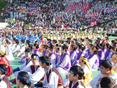 lotus lantern: Seoul, South Korea - May 11, 2013  People are garthering at Buddhist Cheer Rally for celebration of Lotus Lantern Festival, Dongguk University Stadium, Seoul, South Korea  Buddha's birthday is a major event on the Korean calendar and the Lotus Lantern F Editorial