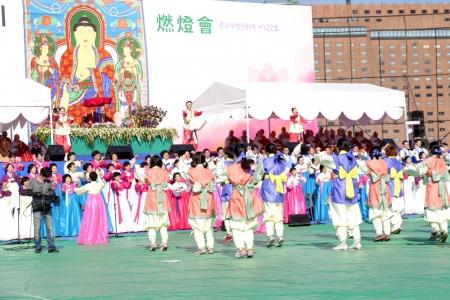 Seoul, South Korea - May 11, 2013  People are garthering at Buddhist Cheer Rally for celebration of Lotus Lantern Festival, Dongguk University Stadium, Seoul, South Korea  Buddha's birthday is a major event on the Korean calendar and the Lotus Lantern F