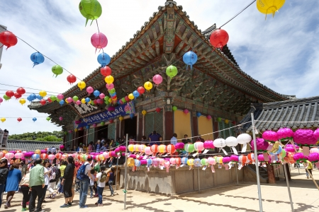 Gyeongiu, South Korea - May 17, 2013  People are visiting the Bulguksa Temple where hanging lanterns for celebrating the Buddhas birthday, Gyeongiu, South Korea  Buddha's birthday is major event on the Lunar calendar in Korea