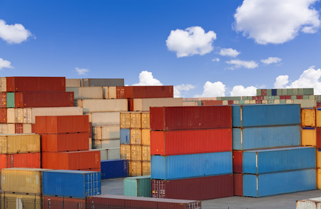Stacks of colorful cargo containers 免版税图像