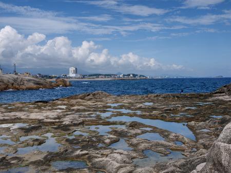 Beautiful seascape with rocks and blue sky at Sokcho, South Korea.