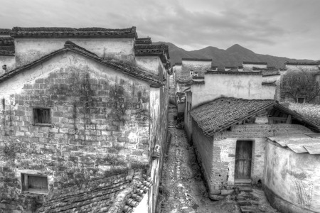 Ancient buildings in Anhui province, China. black and white tone. 免版税图像