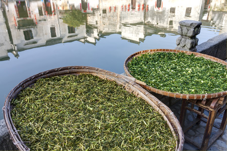 riverside county: Vegetables drying at Hongcun, Ancient village in south China.