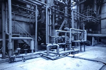 steel mill: abandoned steel mill with pipes and valves