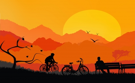 Illustration of a rural landscape background with silhouette of man sitting on bench and cyclist illustration
