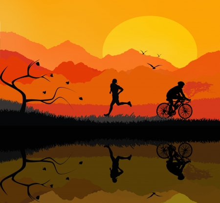 Illustration of a rural landscape background and reflection on calm lake with silhouette of man running and cyclist illustration