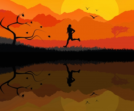 Illustration of a rural landscape background with silhouette of man running illustration