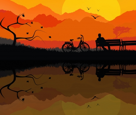 Illustration of a rural landscape background with silhouette of man sitting on bench illustration