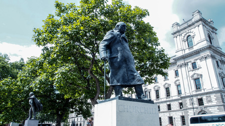 the statesman: Winston Churchill Statue in Parliament Square, London, UK