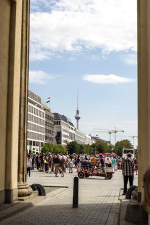 View of Berlin Tower taken under the Brandenburg Gate in Berlin, Germany