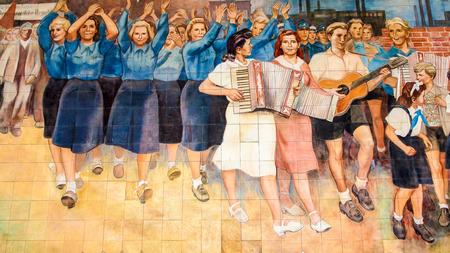 Socialist paintings, Old Luftwaffe Headquarters, Berlin, Germany
