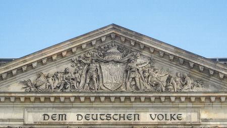 Details on Reichstag building in Berlin, Germany