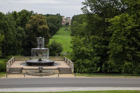 Fountain across Sans Souci in Potsdam Germany