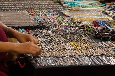 weekly market: Colorful traditional jewelry sold at weekly market.