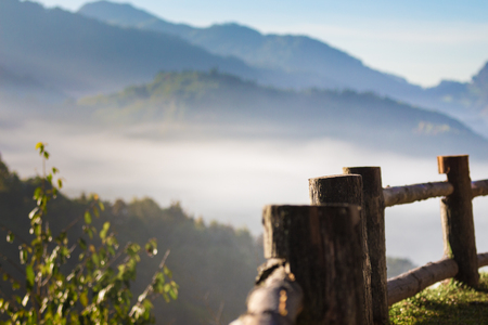Woooden walkway and Mountain with blue sky cloud, Doi Angkhang , Chiang Mai ,Northern Thailand