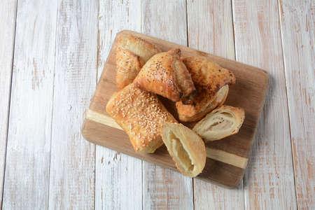 Vegetarian samosas pastries filled with potato, mushrooms, tuna. Middle Eastern  food- samsa