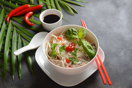 Traditional Vietnamese soup Pho bo with herbs,beef, rice noodles,chili and  bean sprouts . Vietnamese Cuisine. Asian food Stok Fotoğraf