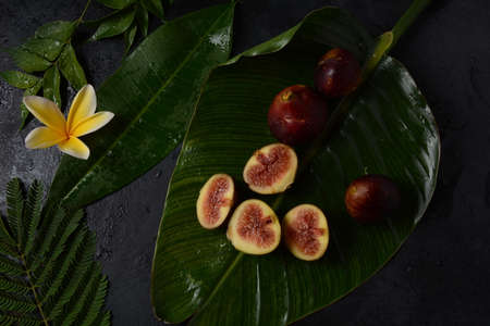 Raw fresh fig fruits on dark background. Slices of fresh common fig (Ficus carica) Banco de Imagens