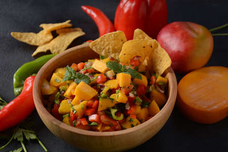 Grilled chicken breast with spicy salsa salad, mango, herbs, onions and peppers, corn chips. Mexican Food.