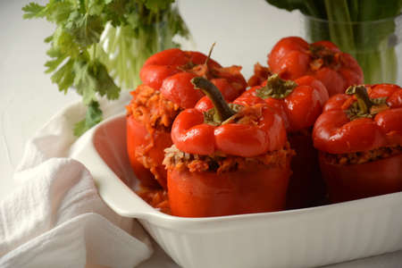 Stuffed red bell peppers with beef meat and rice.