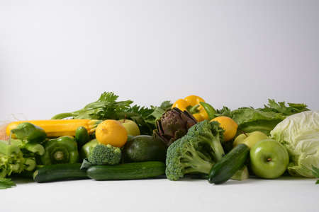 Assortment of fresh fruits and vegetables. Healthy food background. Shopping food in supermarket