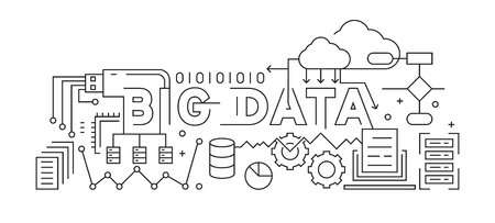 Big Data Line Art Design. Black And White Vector Design. Data And Storage Concept  イラスト・ベクター素材