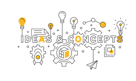 Ideas and Concepts Flat Line Design In Orange. source of the big project. youth style doodle vector Imagens - 119669935