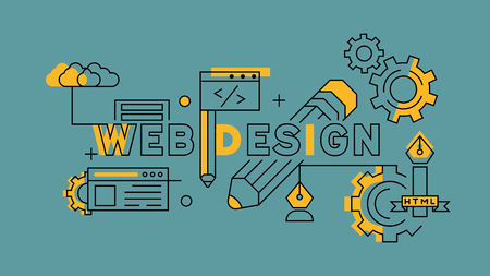 Web Design Orange in Blue Line Design. Website Development Illustration or Landing Page. Business and Technology Industries