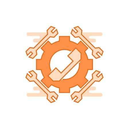 Service illustration. Flat line designed concept with orange colors, for mobile apps or other purposes Ilustração