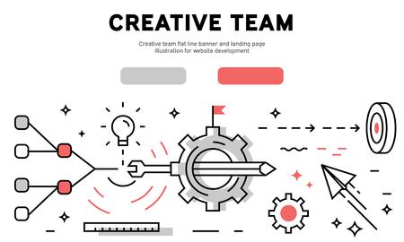 Creative team flat line banner and landing page. Illustration for website development Illustration