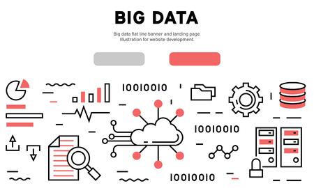Big data flat line banner and landing page. Illustration for website development Illustration
