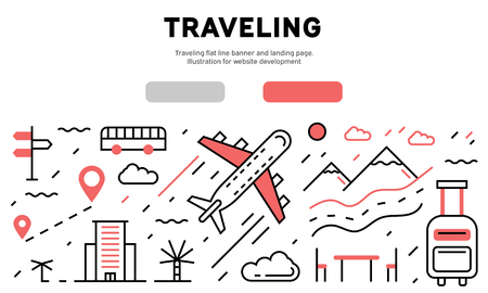 Traveling flat line banner and landing page. Illustration for website development Ilustrace