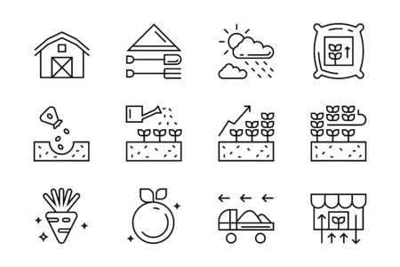 Set of flat line icons for agriculture, farming, harvest, etc. contains such icons seeding, watering, and harvesting for organic food and beverages business projects