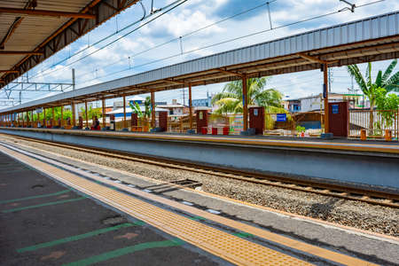 Jakarta, Indonesia - CIRCA April 2020: Empty Taman Kota commuter line railway station in West Jakarta. Government has adviced people to work from home to reduce the spread of covid-19. Sajtókép