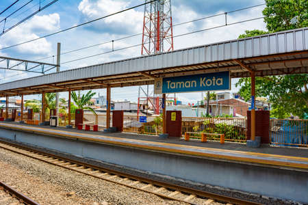 Jakarta, Indonesia - CIRCA April 2020: Empty Taman Kota commuter line railway station in West Jakarta. Government has adviced people to work from home to reduce the spread of covid-19.