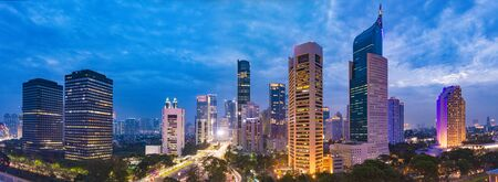 Aerial view of Jakarta's Central Business District at dusk (blue hour). Jakarta cityscape at sunset.