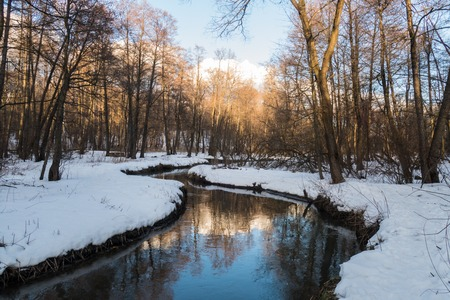 january sunrise: winter river, the sun and snow 2016