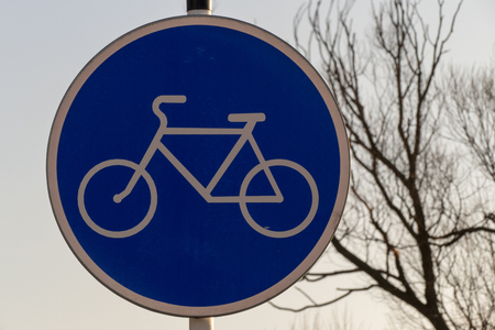 cycleway: Dutch road sign: route for pedal  only moscow 2016