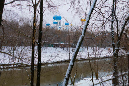 Church in winter on the outskirts of Moscow