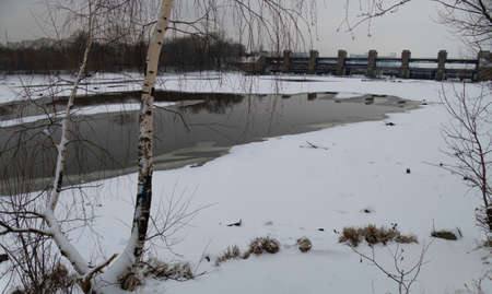 Dam cleansing water in Moscow in winter 写真素材