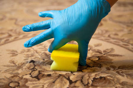 Cleaning with a sponge in a blue rubber glove